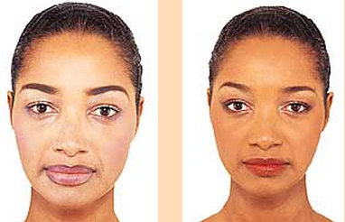 Model made up with white skin products (left) and with a special line for black women.  No more ghost faces