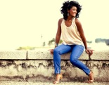 Lovely actress Erika Januza, protagonist of TV series Suburbia, shows off the color of summer
