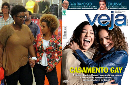 "Ellen Oléria, far left, with partner; Daniela Mercury, far right, with partner. Magazine caption: ""Gay Marriage"""