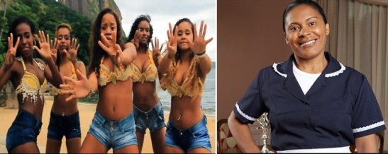 In Brazil, black women are often viewed according to sexual stereotypes (at left in photo: Rio funk group) or maids