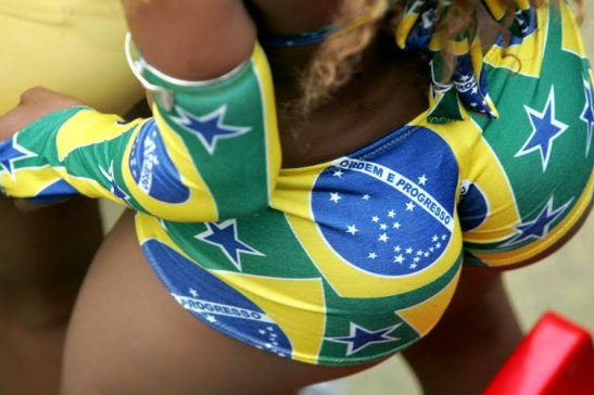 Body draped in colors of Brazilian flag