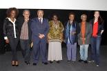 From left to right: journalist Maria Paula, filmmaker Joel Zito, senator Paulo Paim, quilombo resident Miúda, minister Luiza Bairros, president of president of the Palmares Foundation,  Hilton Cobra and American filmmaker Megan Mylan
