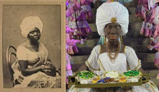 Photo of Tia Ciata and a depiction of her with her tabuleira