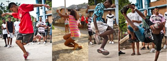 """Dancers show off steps of the """"passinho"""", a new dance step that's taken over the favelas of Rio"""