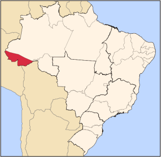 The state of Acre in the southwest region of northern Brazil