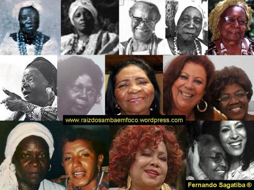 "A few of the many women that exalted and exalt Brazilian culture. Tia Ciata, Tia Bebiana, Mãe Menininha do Gantois, Vó Maria Joana, Tia Maria (both of Jongo da Serrinha), Clementina de Jesus, Tia Vicentina, Tia Doca, Beth Carvalho, Dona Ivone Lara, Jovelina Pérola Negra, Leci Brandão, Alcione, Dona Zica and Clara Nunes. Photo courtesy of the ""Raiz do Samba em Foco"" blog"