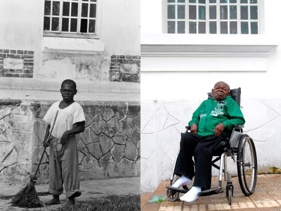 """José Machado, known as """"Machadinho"""", is a survivor of the hospital. He was photographed in 1961 and today. He still lives in the hospital a half century later"""