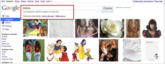 """…the related terms are """"branca de neve (Snow White)"""" and """"folha branca (white leaf)"""". Knowing that the platform Google provides us the results of the most researched, this information should reflect something, shouldn't it?"""