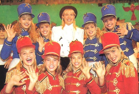 Popular television host Xuxa (in white) with the dance group the Paquitas