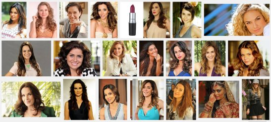 "Using the keywords, ""atrizes de novelas"", meaning ""soap opera actresses"", a screen shot of the first three rows of photos searching Google Images"