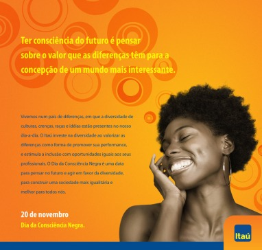 Ad from Banco Itaú (Itaú Bank) advertising the yearly Day of Black Consciousness