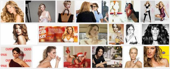 "Using the keyword ""garota propaganda"" meaning something like ""poster girl"", a screen shot of the first three rows of photos using Google Images"