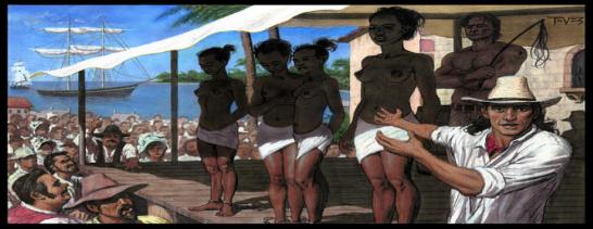 Depiction of black women on a slave auction block