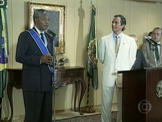 Speaking in 1991 as then President Fernando Collor looks on