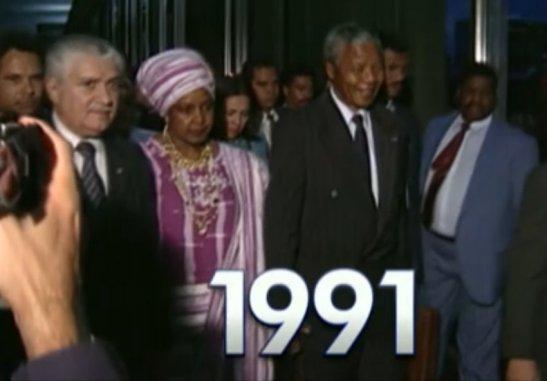 Mandela's arrival in Brazil in 1991