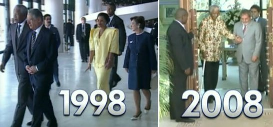 Mandela with President Cardoso on his second trip to Brazil in 1998 (left) and with President Lula da Silva in 2008