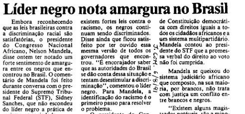 "Headline: ""Black leader notes bitterness in Brazil"""