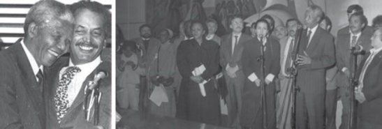 Left: Nelson Mandela and Vital Nolasco greet each other during the plenary meeting of the Palácio 9 de Julho, in São Paulo, on August 2, 1991.Right: On the occasion, Mandela presided symbolically over the Paulista Assembly and gave a speech to representatives of dozens of black, popular and union entities from all regions of Brazil