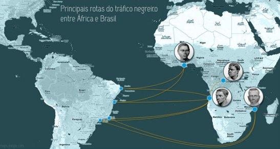Główne trasy ruchu niewolniczego między Afryką a Brazylią
