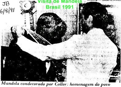 "1991 newspaper clipping: ""Mandela honored by Collor: homage of the people"""