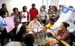 Students and protesters meet in dean's office to repudiate a racist act