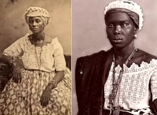 Photo of two women in Salvador, Bahia, in 1869 (left) and 1880