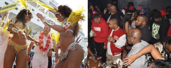 Mulatas welcoming a tourist (left) African-American men at a strip club (right)