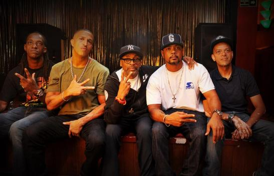 Filmmaker Spike Lee records an interview with Hip Hop group Racionais MCs