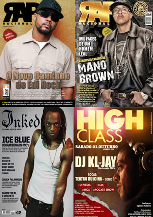 Racionais MCs members,  EdiRock,Mano Brown, Ice Blue and DJ KL-Jay on various magazines covers and flyers