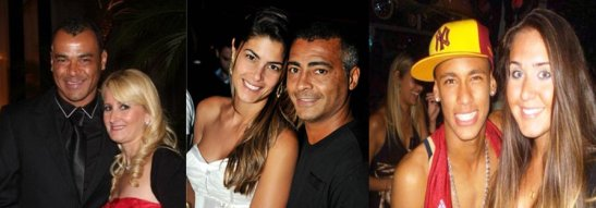 Former star Cafu and Romário with their wives. At right, current superstar Neymar with girlfriend