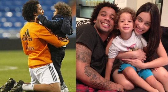 Soccer star  Marcelo with his son Enzo on the field, left, and son and wife, right