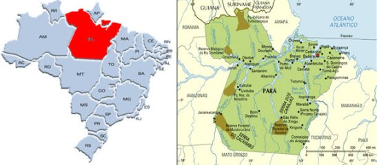 State of Pará located in northern Brazil where it borders other states such as Amapá, Maranhão, Tocantins, Mato Grosso, Amazonas and Roraima