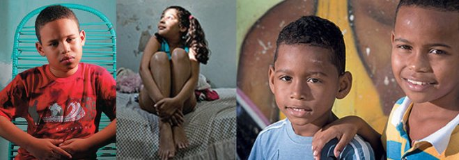 Children left behind after maternity death: Roger, son of Nadja, Alice, daughter of Alyne, Humberto and Marcos Vinícius, children of Viviane