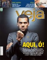 "Soccer player Dani Alves on the cover of the current issue of Veja magazine after the ""great banana eating incident"""