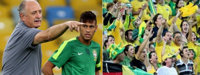 Brazilian coach Luiz Felipe Scolari, known as Felipão, with star Neymar. At right, a shot of Brazilian fans in World Cup match
