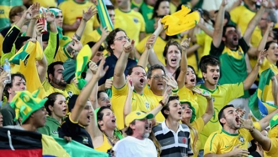 Brazilian fans at World Cup game