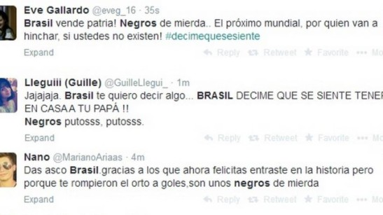 "With insults like ""Negros de mierda"" (negros of shit) ""Negros putos"" (black whores/fucking blacks), Argentines insulted Brazilians after losing the World Cup to Germany"