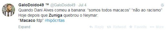 "When Dani Alves ate the banana: ""we're all monkeys"" ""no to racism"". Today after Zúñiga broke Neymar: ""Monkey filho da puta (son of a bitch)"""