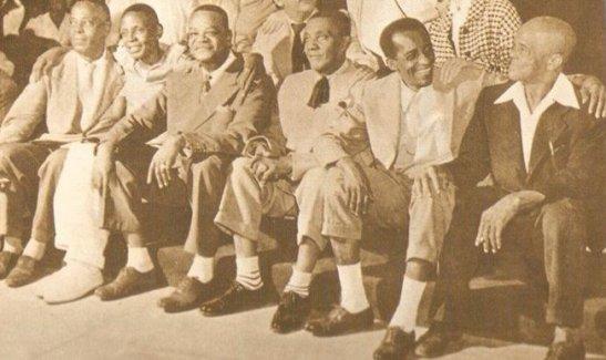 Early samba greats: Donga, Ataufo Alves, Pixinguinha, João da Baiana, Ismael Silva, Alfredinho do Flautim