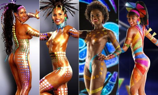 Globeleza dancers - Valéria Valenssa (1991-2004), Giane Carvalho (2005), Aline Prado (2006-2013) and Nayara Justino (2014)