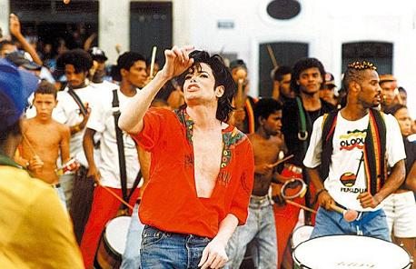 "Michael Jackson with Olodum in his  video ""They Don't Care About Us"""