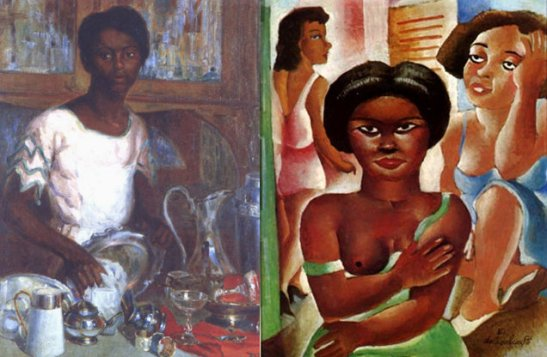 "1923 Armando Vianna painting ""Limpando metais"" (cleaning the metals), 1927 ""mulata"" painting by Emiliano Cavalcanti"