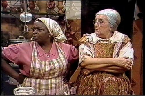 Actress Jacira Sampaio as  Tia Nastácia and actress Zilka Salaberry in the children's TV program 'O Sítio do Pica-Pau Amarelo'
