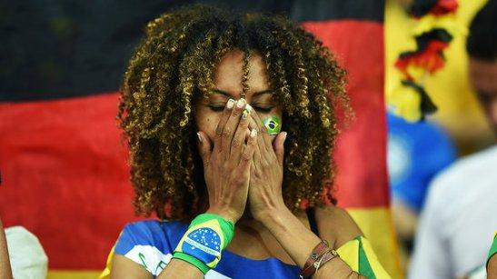 Torcedora do Brasil durante o jogo contra a Alemanha no Mineirão, em Belo Horizonte  (July 8, 2014)