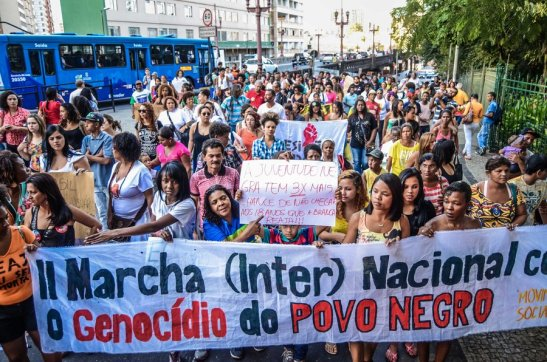 The March against black genocide in Belo Horizonte, the capital city of Minas Gerais