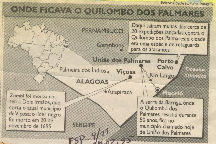 Map showing where Quilombo dos Palmares is located in Brazil, where more than 20 expeditions were undertaken to destroy the quilombo, and where it is believed Zumbi is believed to have been killed on November 20, 1695.
