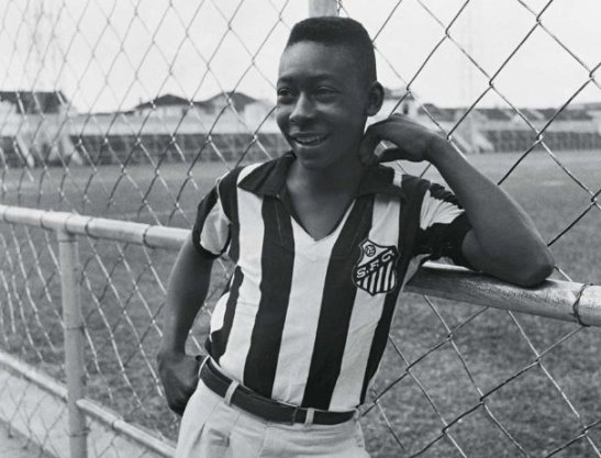 A young Pelé's first day with Santos in 1956
