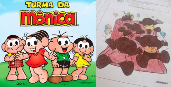 """Turma da Mônica"" (left) is a popular Brazilian children's comic book. A student, frustrated with the lack of black characters, colored the characters brown"