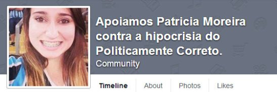 Facebook page supporting Patrícia Moreira