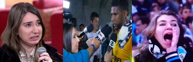 Patrícia Moreira on a talk show saying she is not racist; goalie Aranha after re-match in which he was booed by opposing team's fans. Moreira caught on camera calling the goalie a monkey